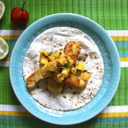 Halloumi tacos med mangosalsa